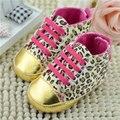 Primer Caminante del Bebé Del Niño Zapatos de Lona del Leopardo Niños Niñas Bowknot de La Cinta de Cordones Zapatos del Pesebre Suaves Walker Freeshipping