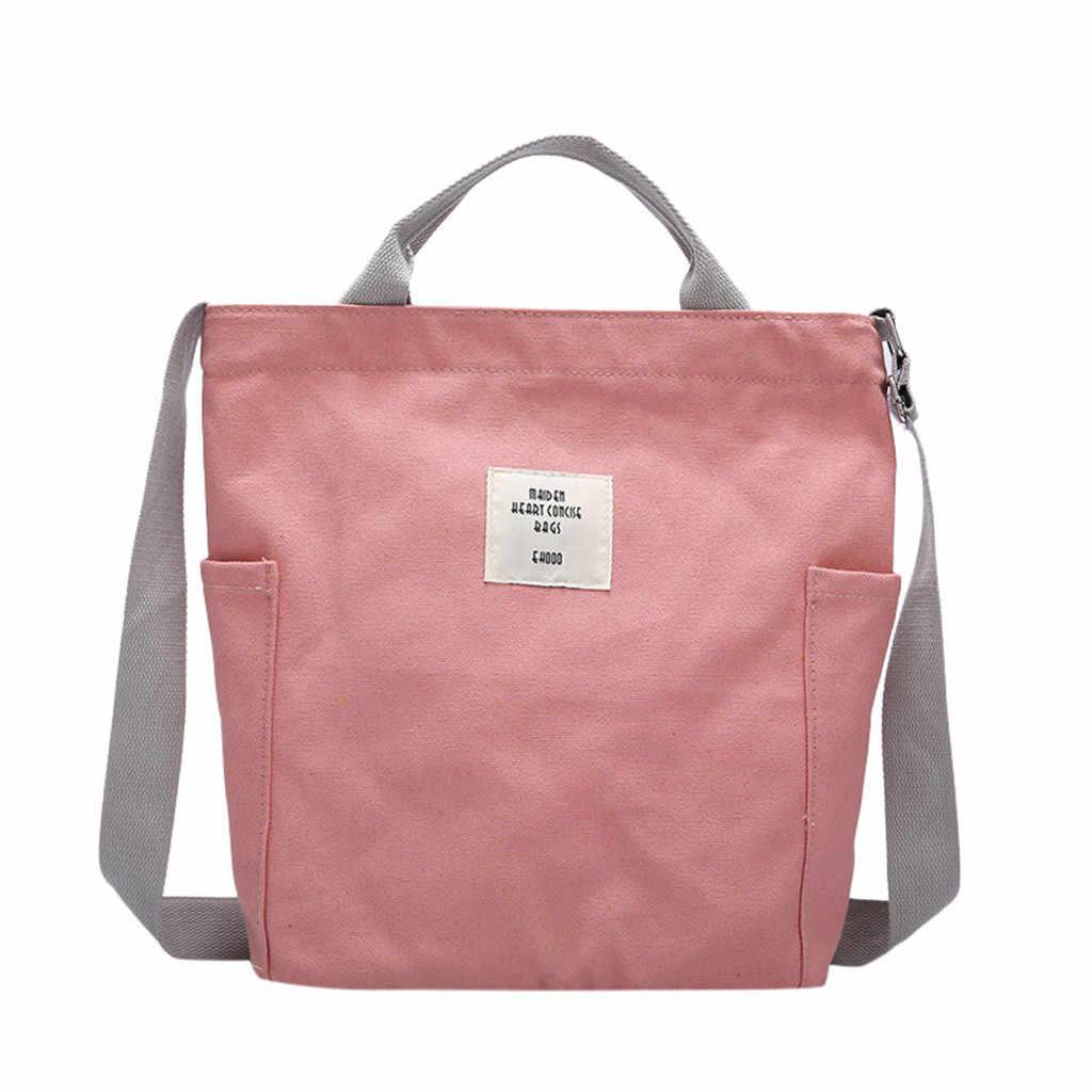 Ladies Shoulder Messenger Crossbody Bags Women Simple Big Capacity Canvas Bag Vintage Zipper Flap Bag Bolsos Ladies Cute Bolsas