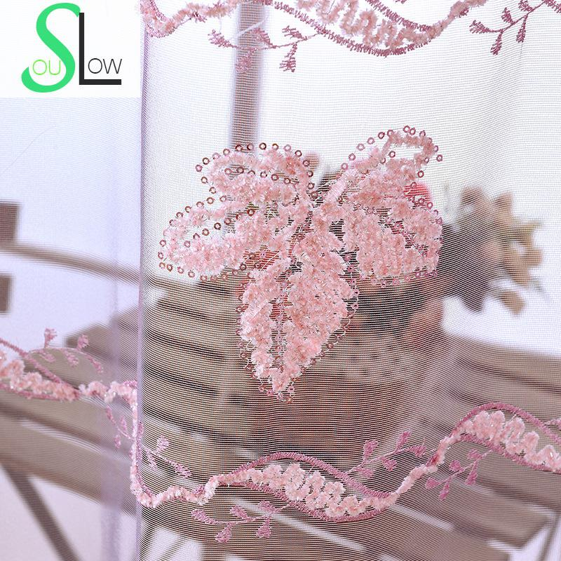 Slow Soul Light Pink Curtain French Window Embroidered Leaves ...