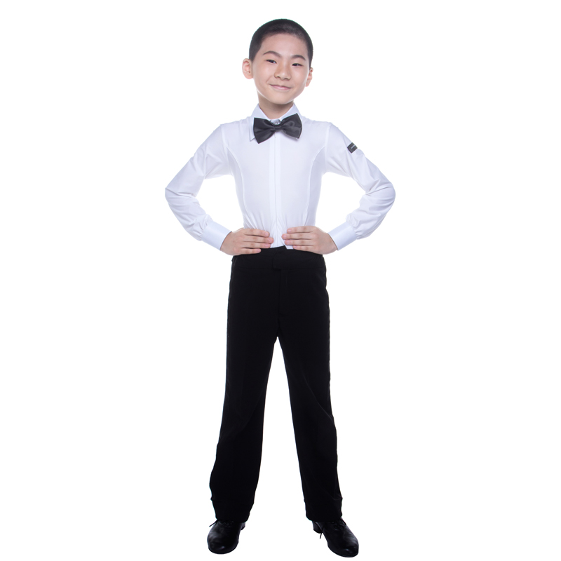 Ballroom Latin Dance Shirts Boys Long Sleeve Samba Rumba Modern Dance Costumes For Kids Competition Performance Wear Top DN1014