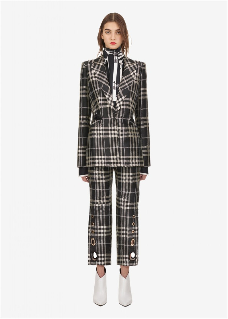 2018 new arrive Autumn winter plaid Blazer suit Single button slim jacket office lady OL coat