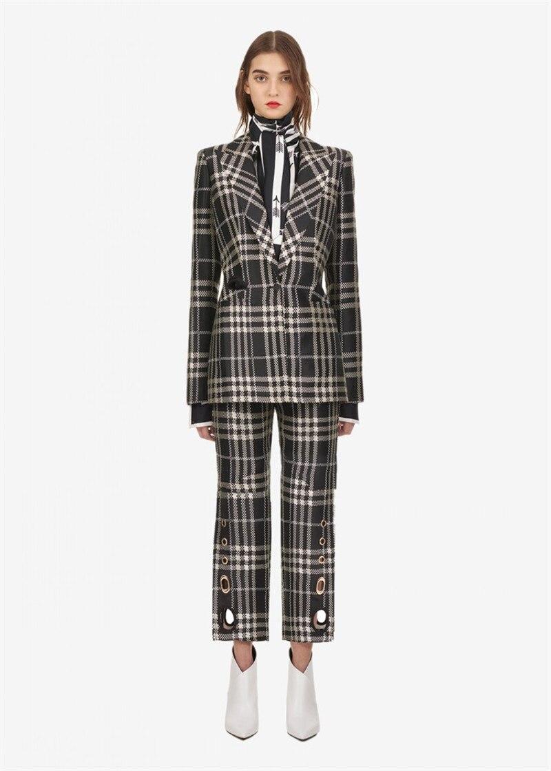 Qualité Bouton De Hiver Haute Manteau Slim Dame Blazer Nouvelle Ol Plaid Arrivée Automne Veste 2018 Seul Bureau CT4x1qa