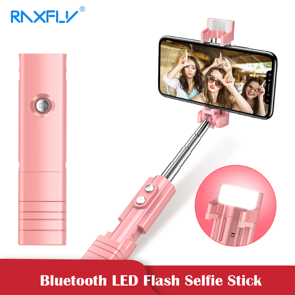 RAXFLY Mini LED Flash Bluetooth Selfie palo para Xiaomi Samsung Selfie palo de mano plegable de Monopod trípode para iPhone X XR XS.