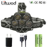 Litwod z202507 Led Headlamp 25000LM Headlight Micro USB Charger 5*T6 + 2*Q5 Head Lamp Portable Light Torch Lantern With Battery