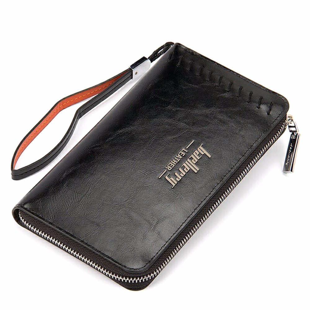 Baellerry 2 Color Casual Long Clutches Men Wallet,Middle Rope Design Brief Design Europe Style Mens Long Clutch Wallet Card Hold