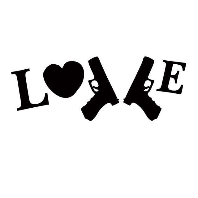New style car styling for i love my guns 9mm die cut vinyl decal car