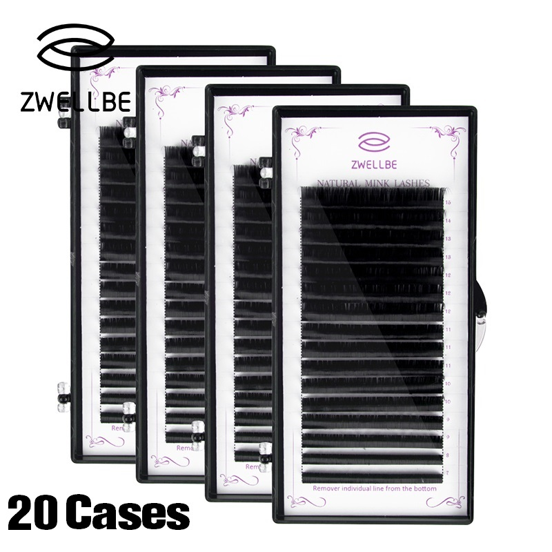 20 Cases Lot JBCD Curl Eyelashes Extension 7 15mm Mix Tray Synthetic Mink Individual Eyelash Extension