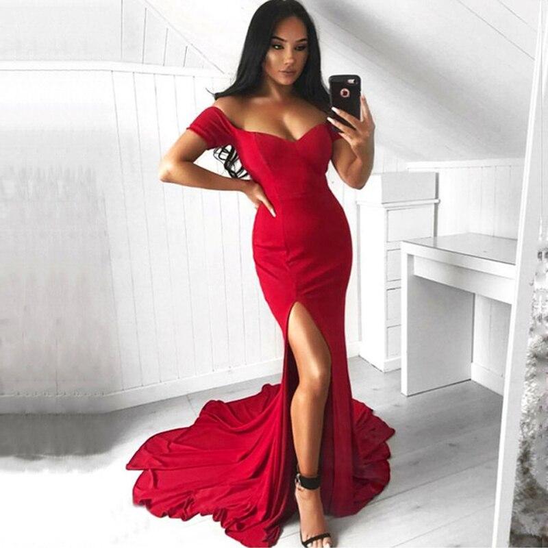 Red Off Shoulder Slash Neck Leg Split Stretch Floor Length Tight Package Hip V Neck Backless Bridesmaid Long Dress