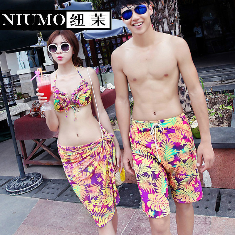 NIUMO Couple Swimsuit Gather Together Bikini Three Suit Hot Springs Beach Swimwear Lovers niumo new beach sports swim swimsuit woman skirt style bikini three piece suit swimwear gather together hot spring swimwear