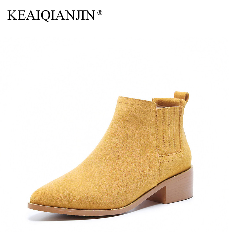 KEAIQIANJIN Woman Rivet Chelsea Boots Autumn Winter High Heel Shoes Black Genuine Leather Punk Boots Pointed Toe Ankle Boots