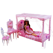 1/6 30cm Doll Accessories Furniture Bedroom for Barbie Pink Princess Bed Dresser Set DIY Toys Girls Birthday Christmas Gift цена и фото