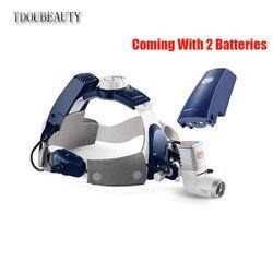 TDOUBEAUTY Vollständig Wasserdichte Staubdicht 5W LED Chirurgische Dental Kopf Licht Lampe Scheinwerfer KD-205AY-2 (Kommen Mit 2 Batterien)