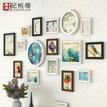 Modern Multi Color Wall Photo Frame Combination Simple Photo Frames For Wedding 16pcs Picture Frames Set marcos de fotos pared(China)