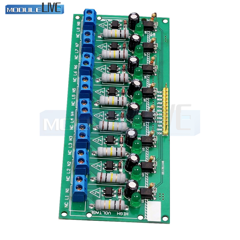 AC 220V 8 Channel MCU TTL Level 8 Ch Optocoupler Isolation Test Board Isolated Detection Tester PLC Processors Module l9110s 2 ch motro driving board module deep blue