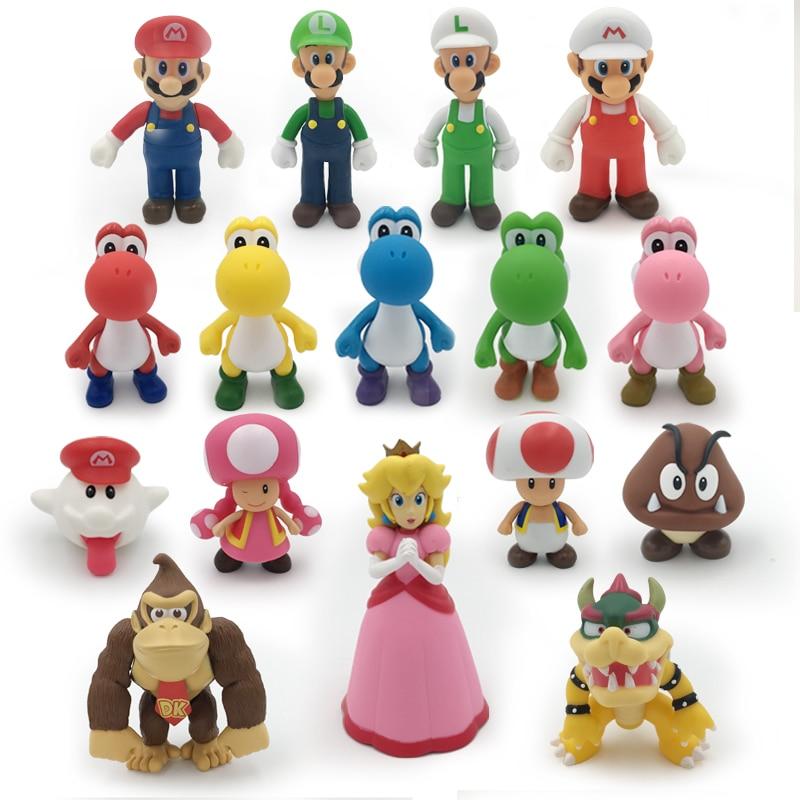 16 Styles 8 - 15cm Anime Super Mario Bros Bowser Koopa Yoshi Mario Luigi Mushroom Peach Wario PVC Figure Toys Children Gift