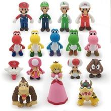 цена на 18 Styles 8-15cm Anime Mario Bros Bowser Koopa Yoshi Mario Maker Luigi Mushroom Peach Wario PVC Figure Toys Children Gift