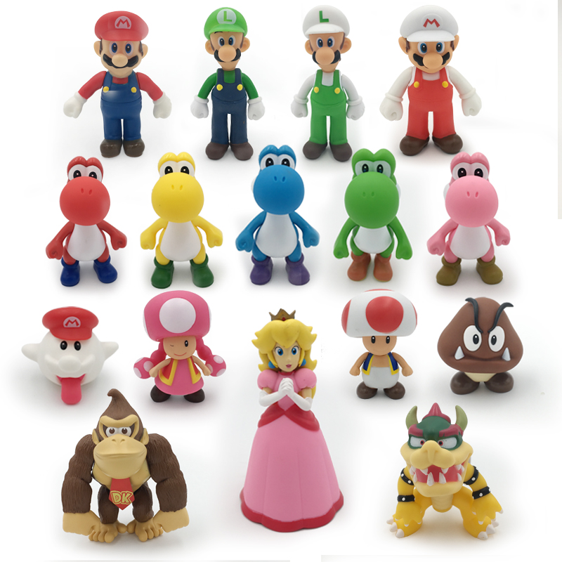 18 Styles 8-15cm Anime Super Mario Bros Bowser Koopa Yoshi Mario Maker Luigi Mushroom Peach Wario PVC Figure Toys Children Gift