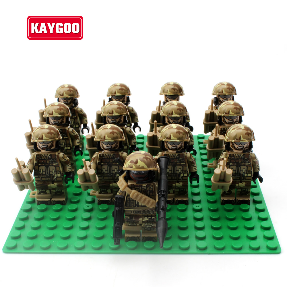 KAYGOO many Alloy Weapons SWAT military army soldiers building set blocks best christmas toys for children pvc building blocks army field combat military escort weapons