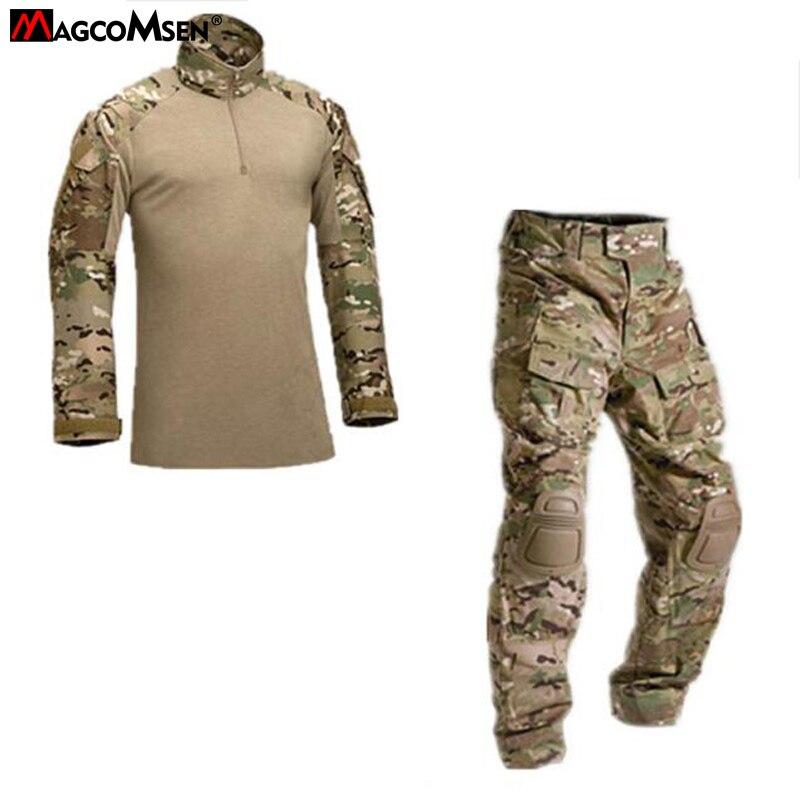 Tactical Camouflage Military Uniform Clothes Suit Men US Army Multicam Airsoft Combat Shirt Cargo Pants Knee