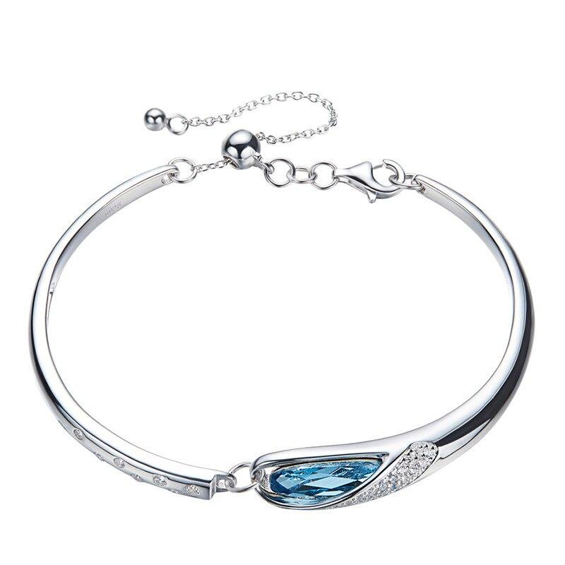 HeeZen luxe embelli de bleu blanc cristal bracelet pour femmes argent bijou breloque de mode bracelets élégant Chic Bijous nouveau