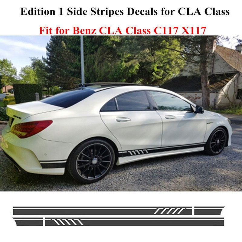 2pcs Stylish Car Side Stripe Stickers for <font><b>Mercedes</b></font> Benz <font><b>W117</b></font> C117 X117 <font><b>CLA</b></font> AMG image