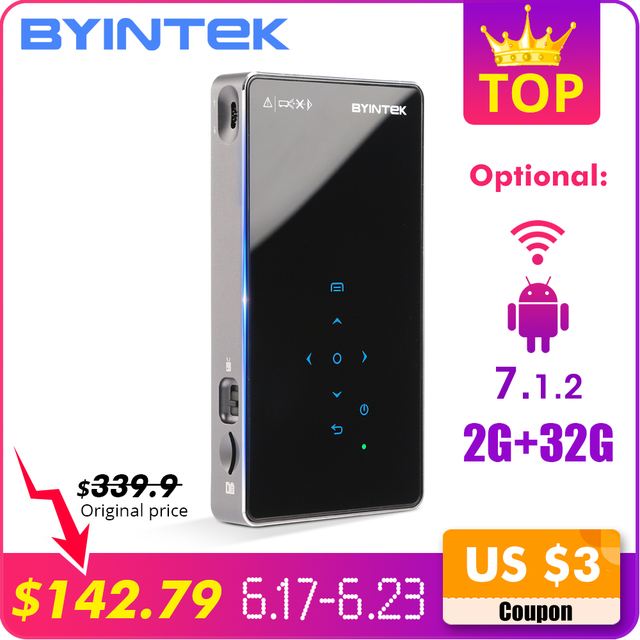 BYINTEK UFO P8I Android 7.1 OS Pico Pocket HD Portable Micro WIFI Bluetooth Mini LED DLP Projector with Battery