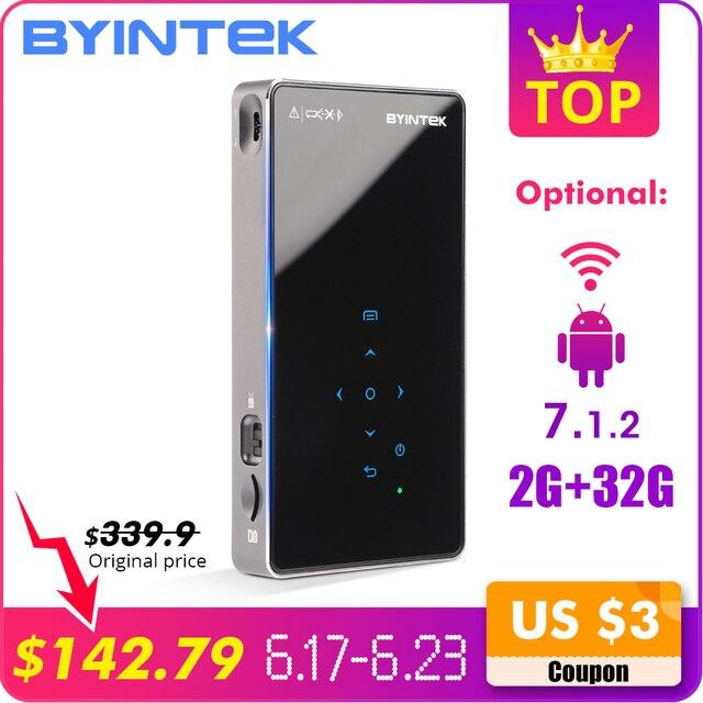 BYINTEK UFO P8I HỆ ĐIỀU HÀNH ANDROID 7.1 Pico Bỏ Túi HD Di Động Micro lAsEr WIFI Bluetooth Mini LED Máy Chiếu DLP với Pin