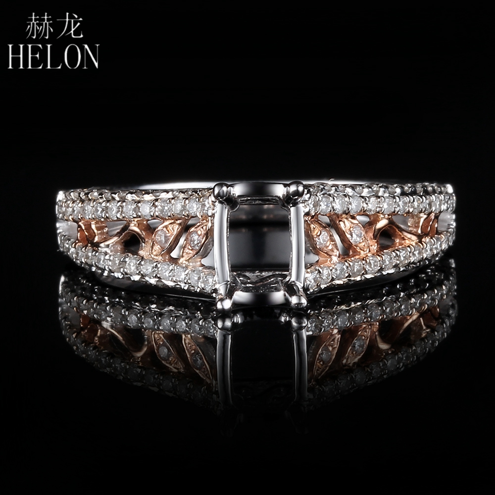 HELON Cushion Cut 6X4mm Solid 10K White Gold & Rose Gold 0.4ct Natural Diamonds Engagement Wedding Semi Mount Ring SettingHELON Cushion Cut 6X4mm Solid 10K White Gold & Rose Gold 0.4ct Natural Diamonds Engagement Wedding Semi Mount Ring Setting