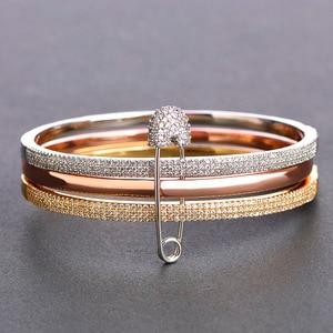 Image 4 - Браслет манжета mechoose Женский, браслет на запястье с уникальным дизайном из 3 круглых булавок, цвет белое, розовое золото, медь