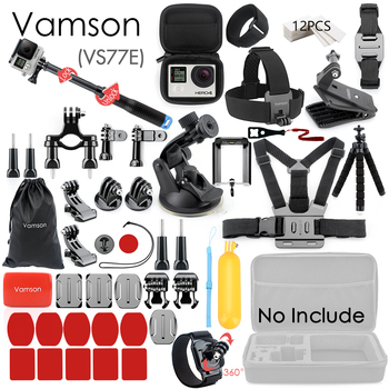 Vamson for Gopro Accessories Set for go pro hero 8 7 6 5 4 kit 3 way selfie stick for Eken h8r / for xiaomi for yi EVA case VS77 12