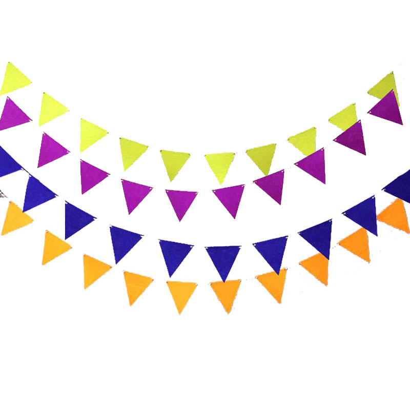 2.5M Small Multicolor Garland 12pcs Flags Non-woven Fabric Banner Pennant Bunting Baby Shower Birthday Wedding Party Decoration