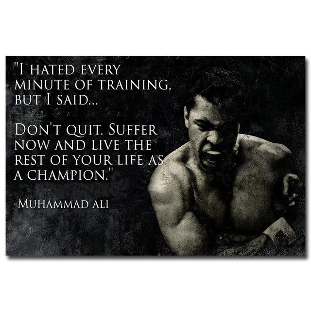 Don't Quit – Muhammad Ali Motivational Inspirational Quotes Art Silk Fabric Poster Print 12×18 20×30 24×36 Inch 013