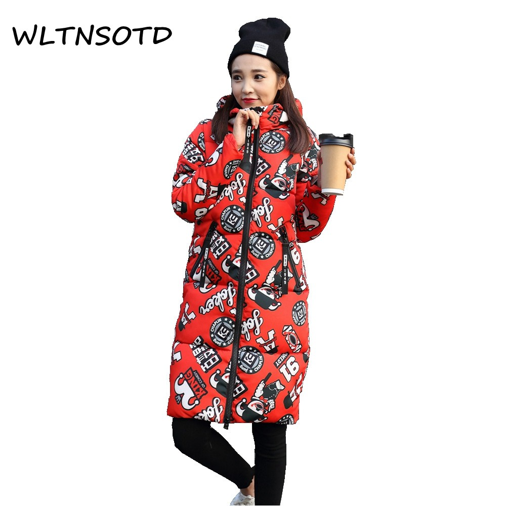 2017 autumn winter new women long Slim thin fashion thicker hooded large size cotton parka jacket female printing pattern warm c lossky bomber jacket women 2017 new fashion winter autumn coat long sleeve hooded casaco thin parka filler cotton jaquetas 3xl