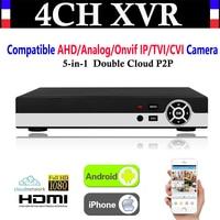 Mejor Nueva cámara de vigilancia AHD/analógica/Onvif IP/TVI AHD de vídeo CCTV de 4 canales 1080P P2P vídeo CCTV NVR AHD TVI DVR + 1080N 5 en 1