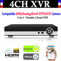 Mejor Nuevo 4CH canal 1080 P P2P CCTV Video grabador NVR AHD TVI CVI DVR + 1080N 5-en- 1 vigilancia AHD/analógica/IP Onvif/TVI/CVI Cámara