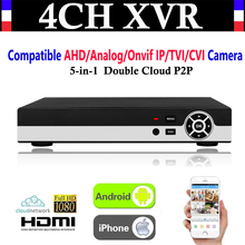 NEW 4CH Channel 1080P P2P CCTV Video Recorder NVR AHD TVI CVI DVR+1080N 5-in-1 Surveillance AHD/Analog/Onvif IP/TVI/CVI Camera