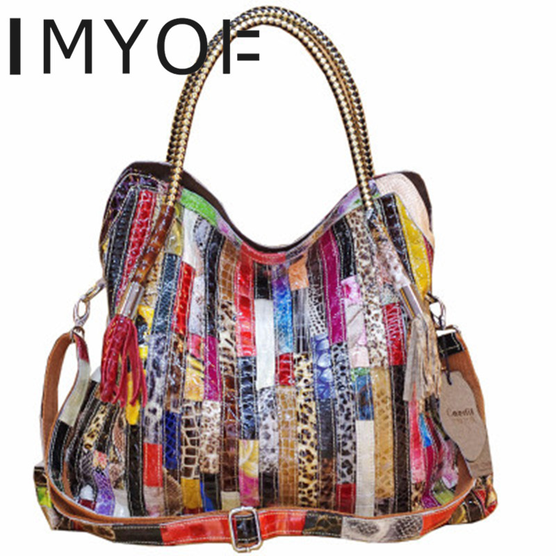 IMYOK New Fashion Genuine Leather Cowhide Snake Pattern Multi color Large Capacity Shoulder Spanning Characteristic Tote