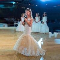 2019 Yeni Mermaid Çiçek Kız Elbise Düğün için Jewel Boyun Küçük Çocuklar Beyaz Dantel Pageant Elbise Kızlar doğum günü partisi elbisesi