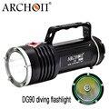 ARCHON DG90 torche de plongée sous-marine Rechargeable Cree SST-90 2200lm 200M poignée étanche lumière de plongée avec batterie 6X18650