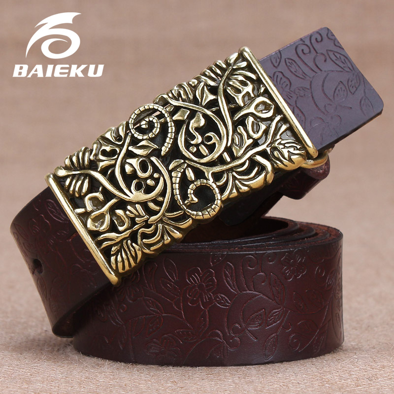 BAIEKU female leather flower belts Carved smooth buckle ladies belts 2018 fashion women's belt High quality red belt
