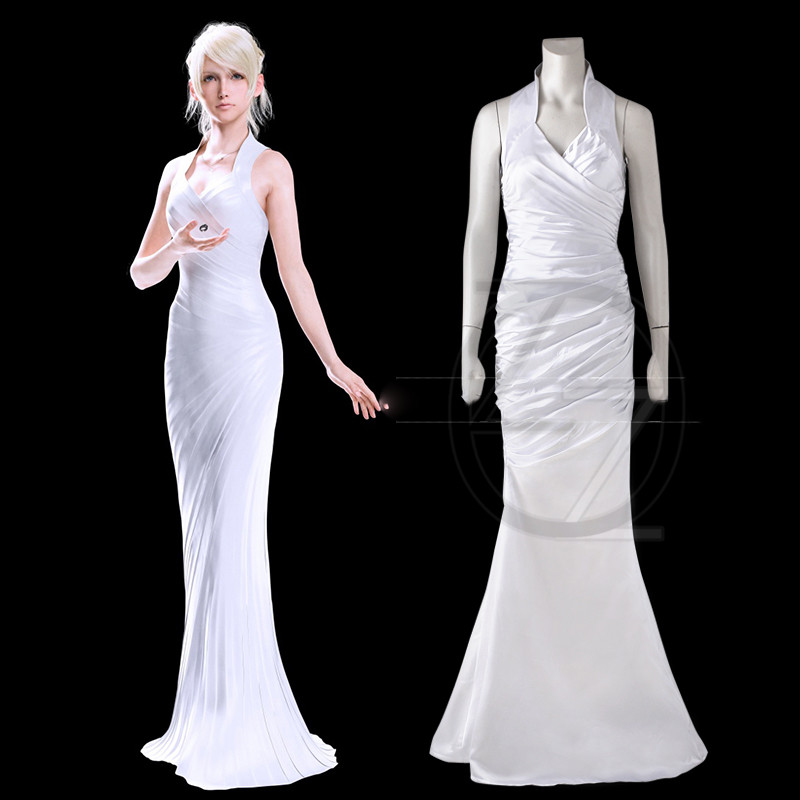 Final Fantasy XV Lunafreya Nox Fleuret Women White Fancy Dress Halloween Girl Customize Adult Women