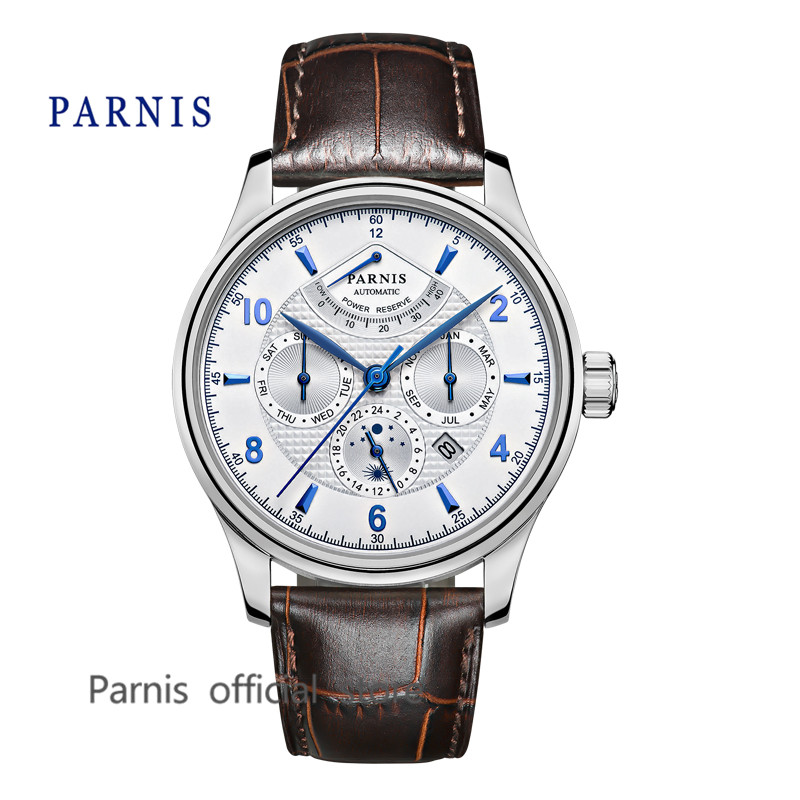 Casual 42mm Parnis Automatic Watch Men Power Reserve White Dial Silver Watch Case Business Men Menchanical Wristwatch Auto Date  casual 43mm parnis automatic power reserve white dial blue numbers silver watch case business watch men
