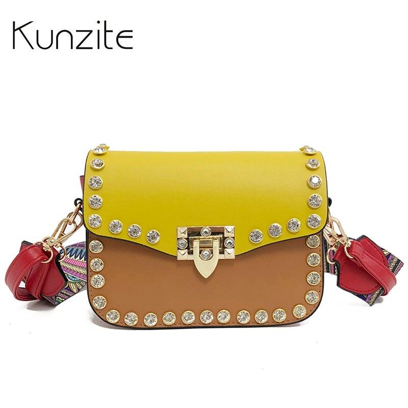 2018 High Quality PU Leather Women Crossbody Bags Fashion Rivet Design Women Shoulder Bags Color Shoulder Strap Ladies Handbags