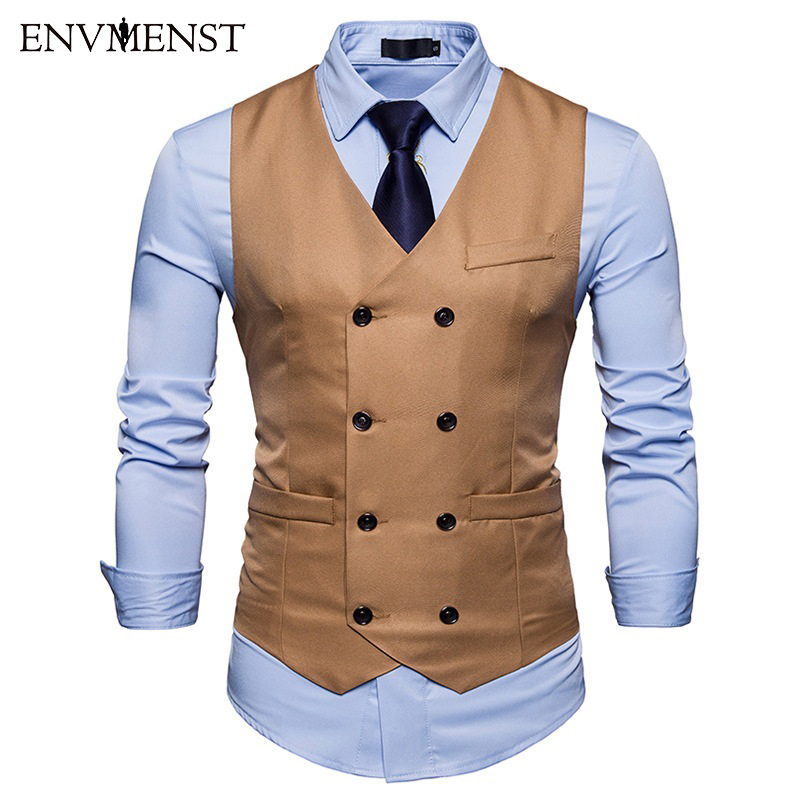 Causal Dress Vests For Men Slim Fit Suit Vest Male Double Breasted Waistcoat Gilet Homme Sleeveless Formal Business Jacket