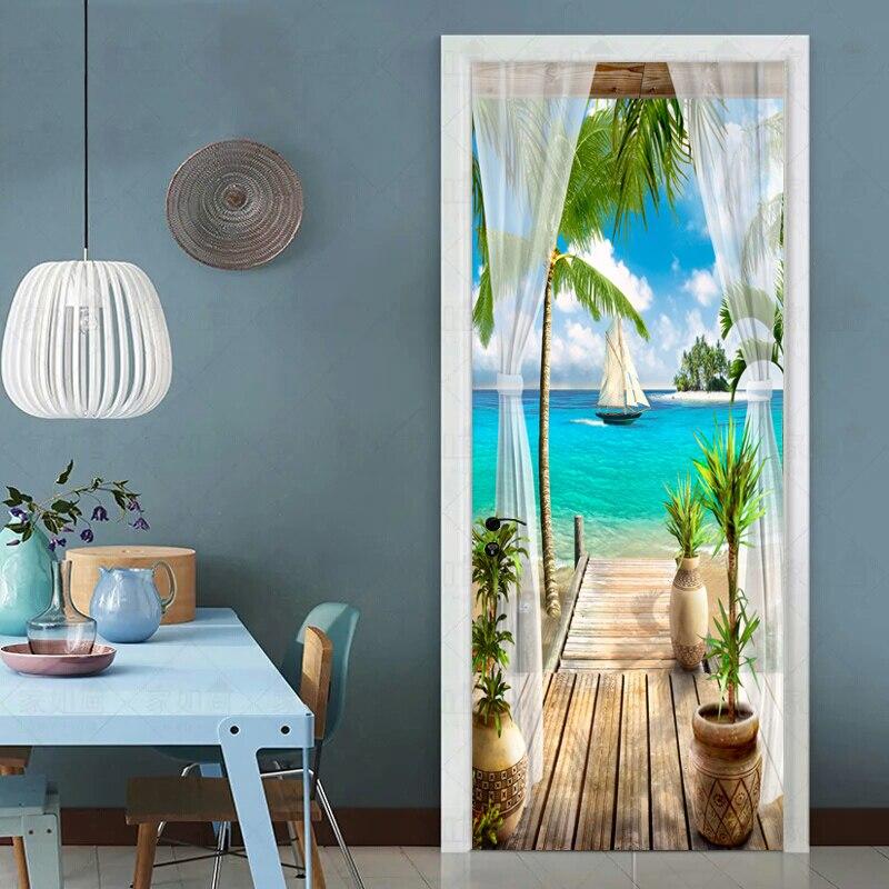 Photo Wallpaper 3D Balcony Seaside Landscape Murals Living Room Dining Room Door Sticker Creative DIY Scenery Wall Papers Decor