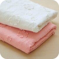 Ücretsiz kargo yeni pembe pamuklu bez, üç-boyutlu nakış çiçekler dantel kumaş bebek giysileri etek kumaş