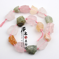 Natural Raw Rough Clear Rose Amethyst Green Crystal Quartz Strand Beads Chunky Nugget Mineral Drusy Rock