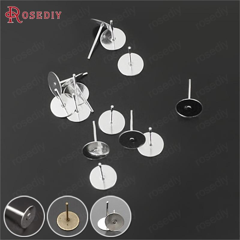 (23919)200PCS 4MM 6MM 8MM 10MM Iron Flat Stick Stud Earrings Pins Diy Jewelry Findings Accessories Wholesale