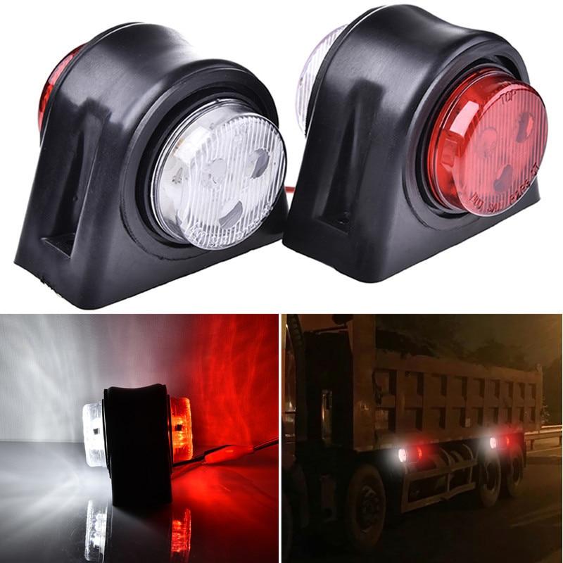 GERUITE 2Pcs 12 LEDS Car Truck Rear Tail Light Warning Lights Rear Lamps Waterproof Double Sides Marker Trailer Lights 10-24V 2pcs truck light 4 leds lamp