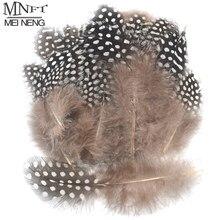 MNFT 100 adet doğal siyah renk eyer tüy beyaz noktalar ile kısa sinek kanat yapma kıllar Fly bağlama malzemeleri